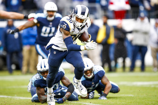 NASHVILLE, TN - DECEMBER 24: Running Back Todd Gurley II #30 of the Los Angeles Rams carries the ball against the Tennessee Titans at Nissan Stadium on December 24, 2017 in Nashville, Tennessee. (Photo by Wesley Hitt/Getty Images)